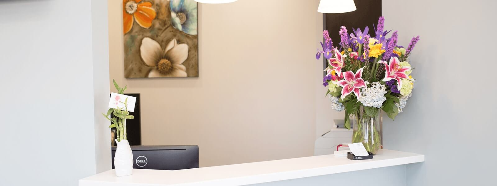 The reception desk at our Louisville dental office