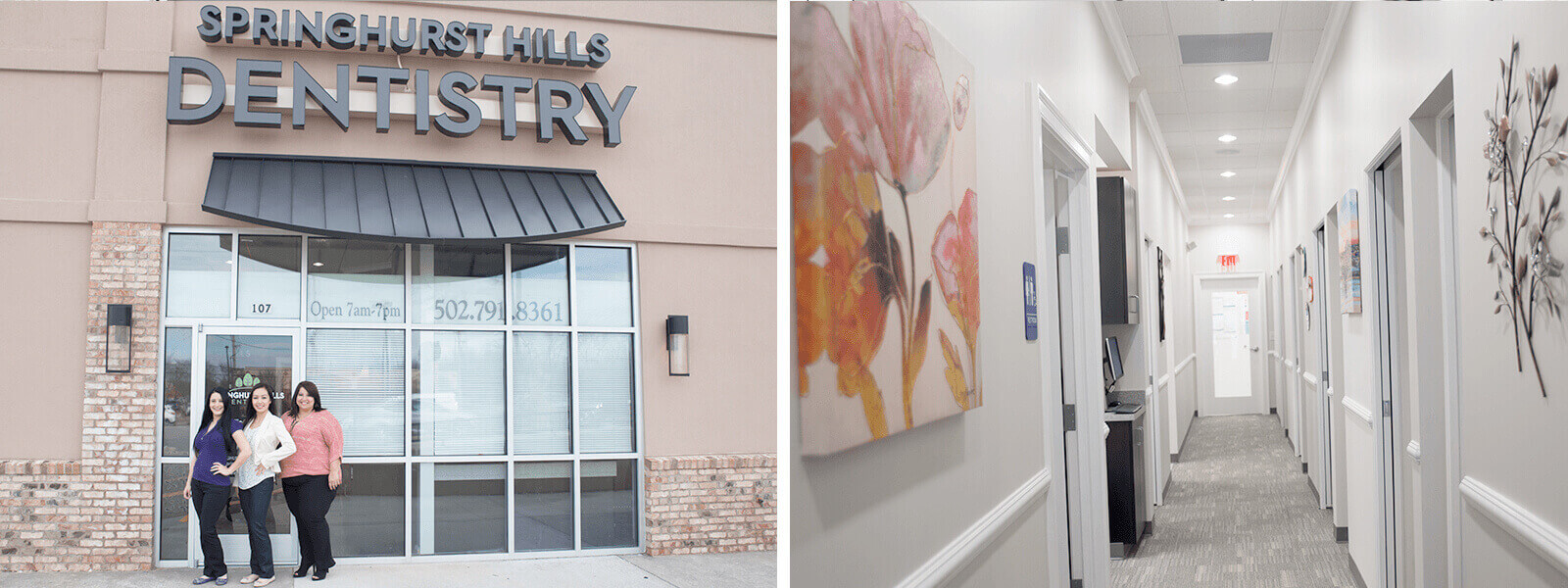 Outside and inside photo of our Louisville dental office