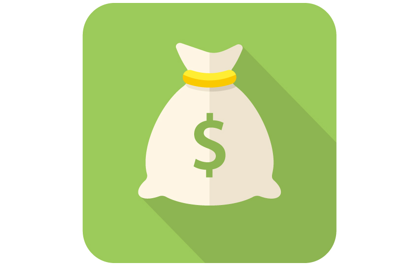 Clip art drawing of a white money bag tied with a yellow band and a green dollar sign on the bag on a green background